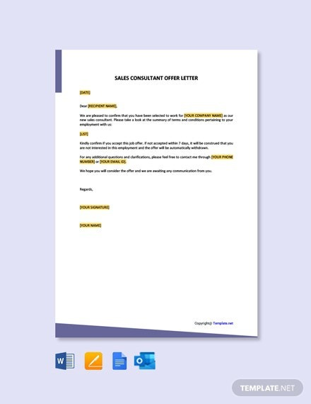 Free Sales Consultant Offer Letter Template