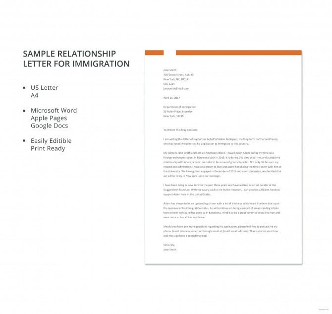 Free Sample Relationship Letter For Immigration