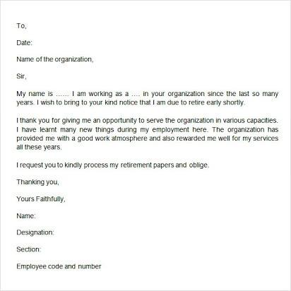 Free Sample Retirement Letter To Boss