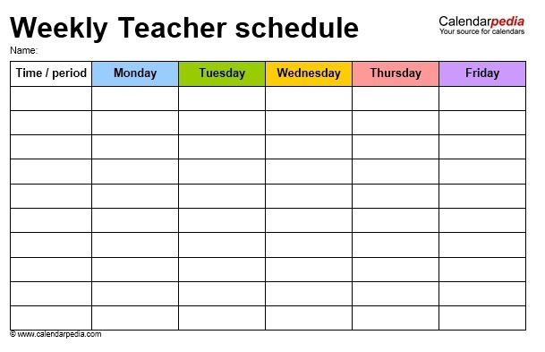 Free Sample Teacher Schedule Templates