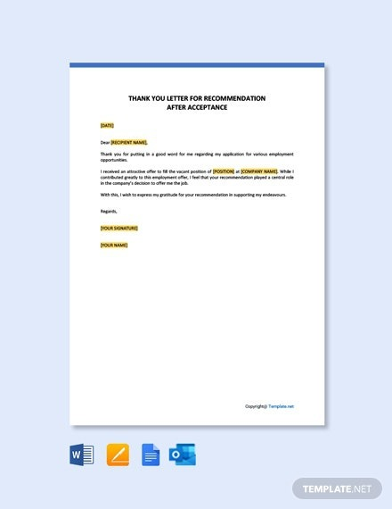 Free Sample Thank You Letter After Job Acceptance Template
