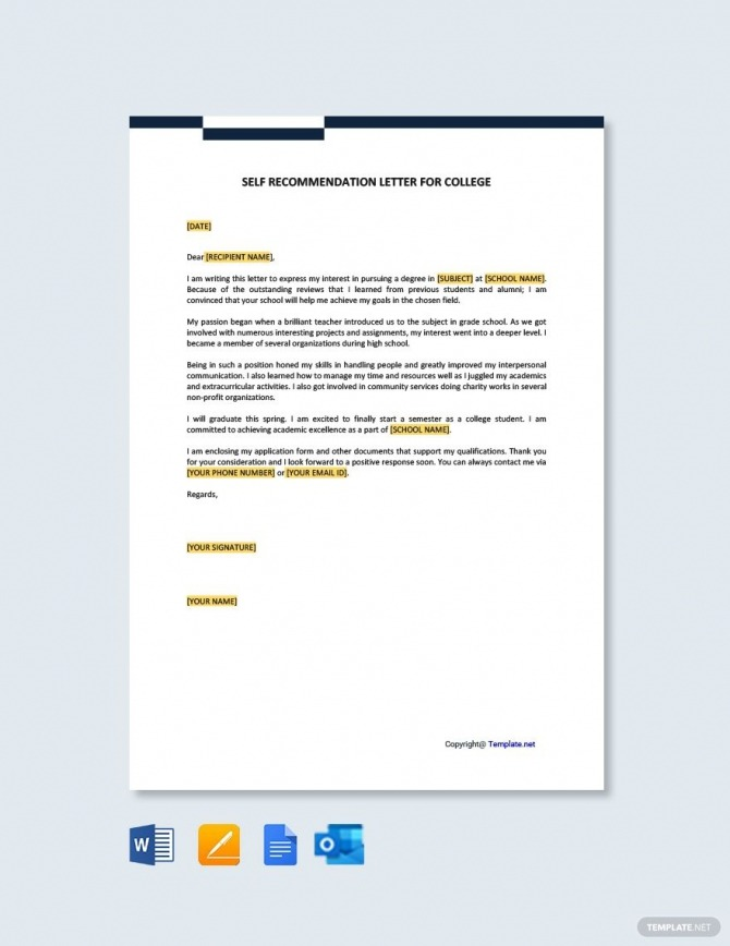 Free Self Recommendation Letter For College