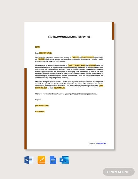 Free Self Recommendation Letter For Job Template