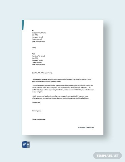 Free Short Recommendation Letter For Colleague Template