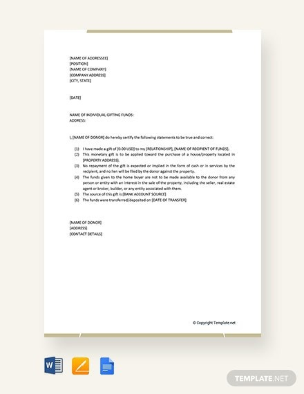 Free Simple Gift Letter Template
