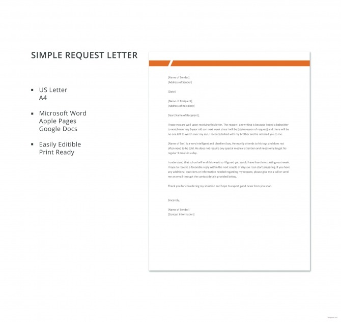 Free Simple Request Letter