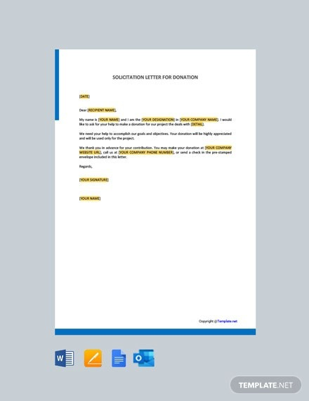 Free Solicitation Letter For Donations Template