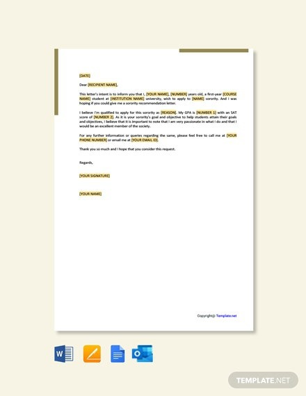 Free Sorority Recommendation Letter Request Template