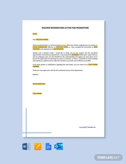 Free Teacher Resignation Letter For Promotion Template