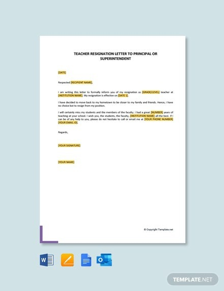 Free Teacher Resignation Letter To Principal Or Superintendent