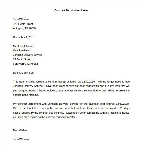 Free Termination Agreement Templates  Business Letter Samples