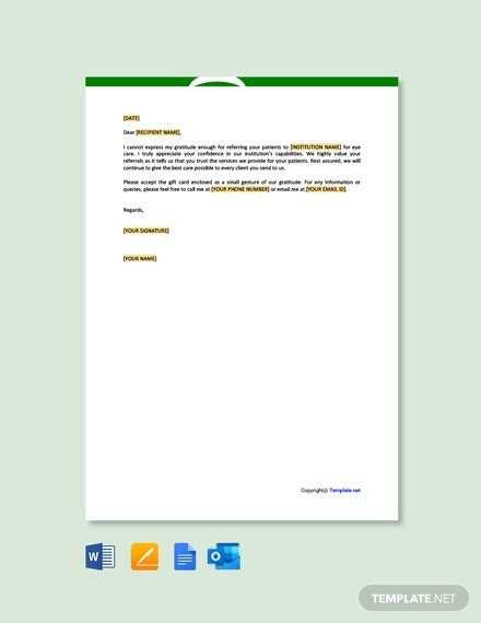 Free Thank You Letter To Doctor For Referral Template