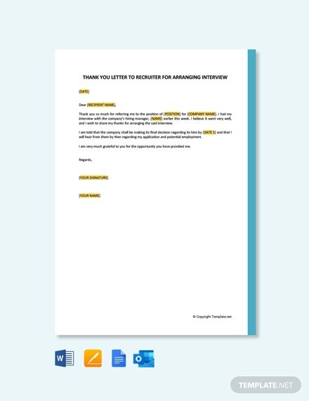 Free Thank You Letter To Recruiter For Arranging Interview