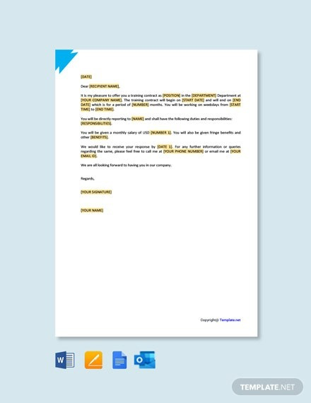 Free Training Contract Offer Letter Template