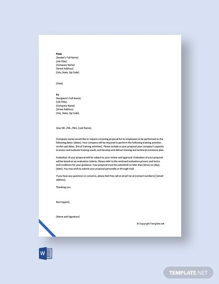 Free Training Proposal Request Letter Template