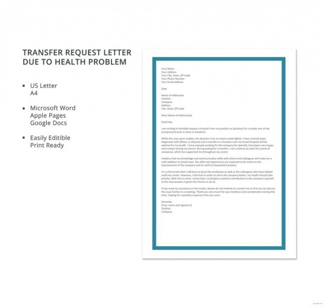Free Transfer Request Letter Due To Health Problem