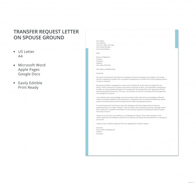 Free Transfer Request Letter On Spouse Ground