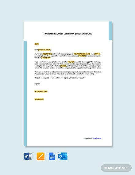Free Transfer Request Letter On Spouse Ground Template