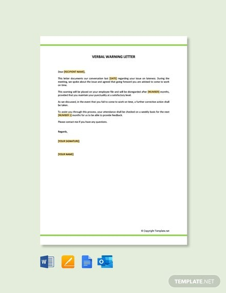 Free Verbal Warning Letter For Lateness Template