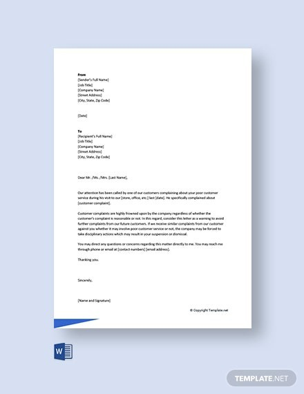 Free Warning Letter To Employee For Customer Complaint Template