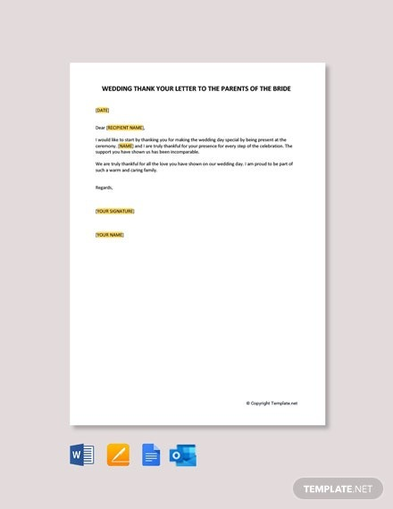 Free Wedding Thank You Letter To Parents Of The Bride Template