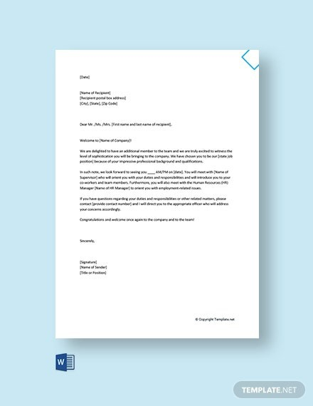 Free Welcome Letter To New Employee On First Day Template