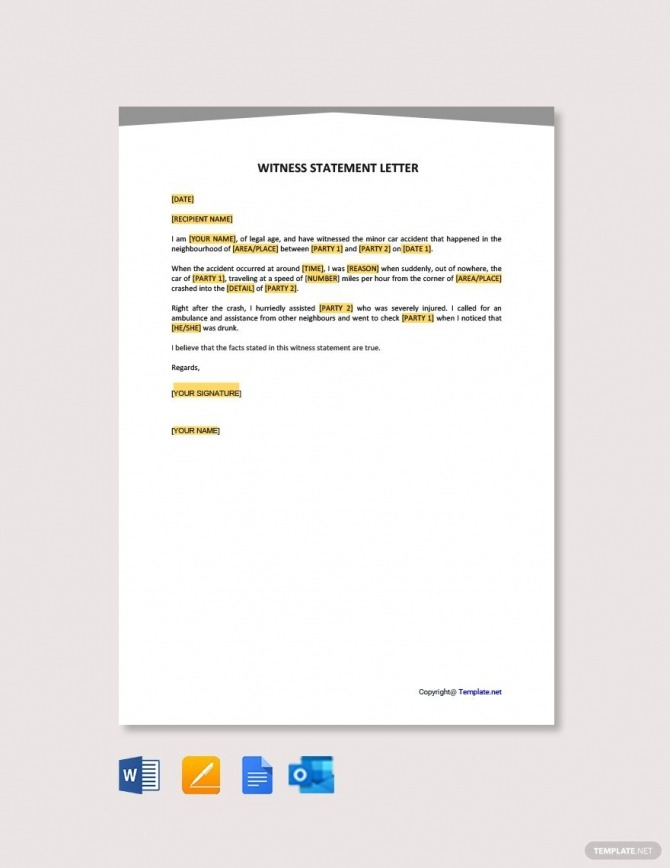 Free Witness Statement Letter