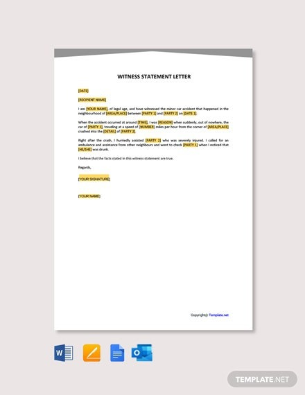 Free Witness Statement Letter Template