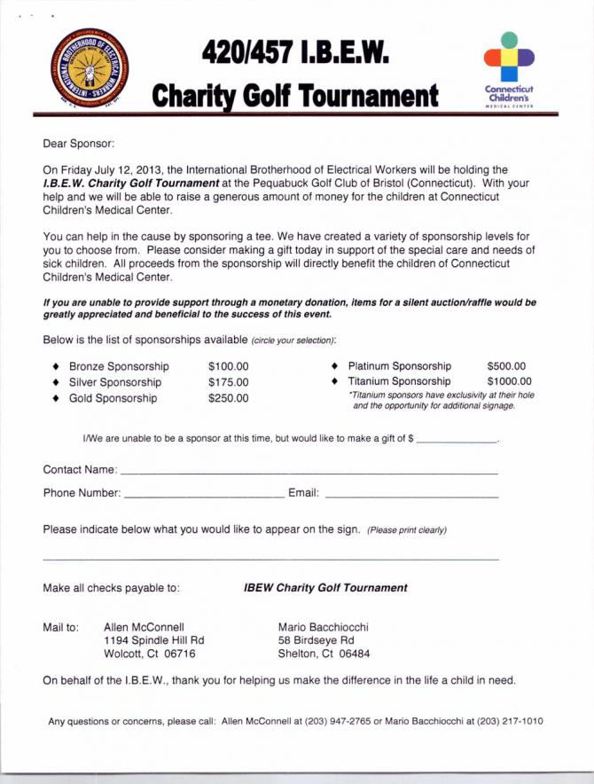 Golf Tournament Corporate Sponsorship Letter
