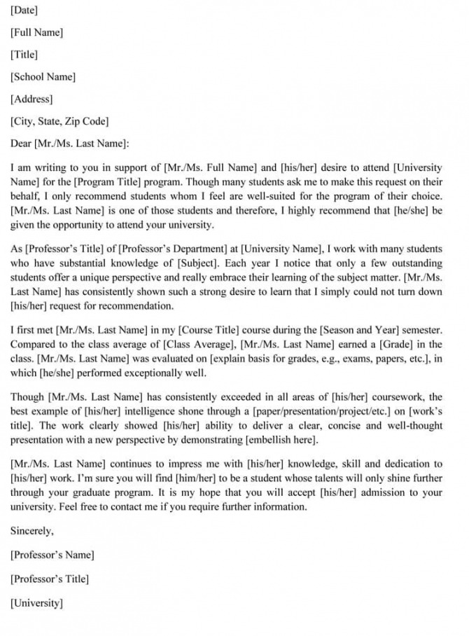 Graduate School Recommendation Letter Sample Letters And Examples