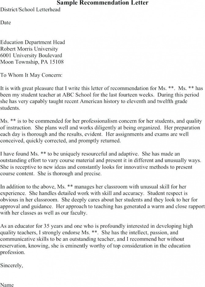 Graduate School Reference Letter From Employer