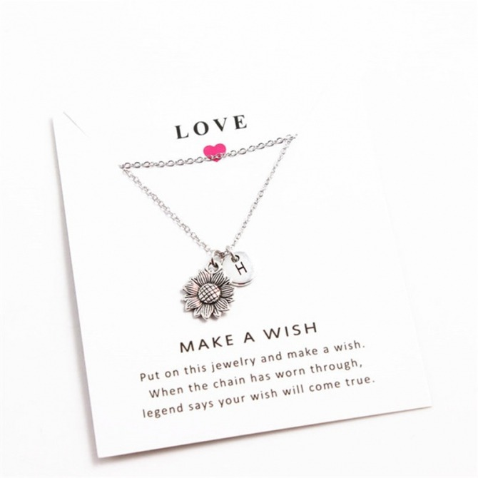 H Fashionable Simple Sunflower Silver Necklace Letter Women
