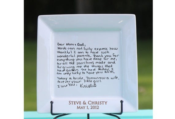 Handwritten Letter Plate Thank You Mom And Dad Wedding Gift