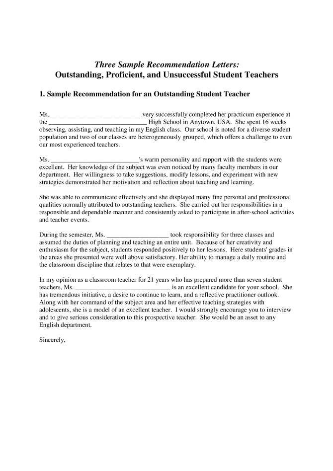 High School Student Recommendation Letter