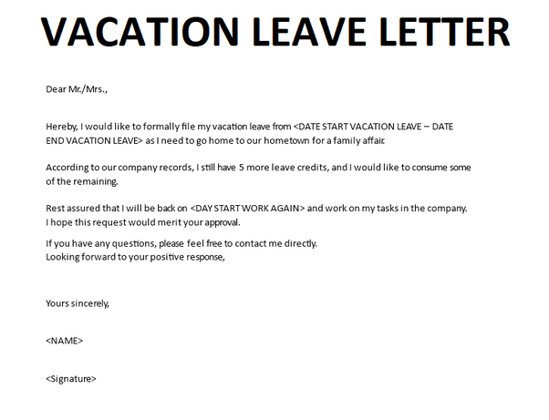 How To Write A Letter Of Leave For A Vacation