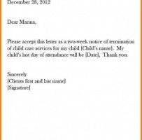 Two Week Child Day Care Termination Notice