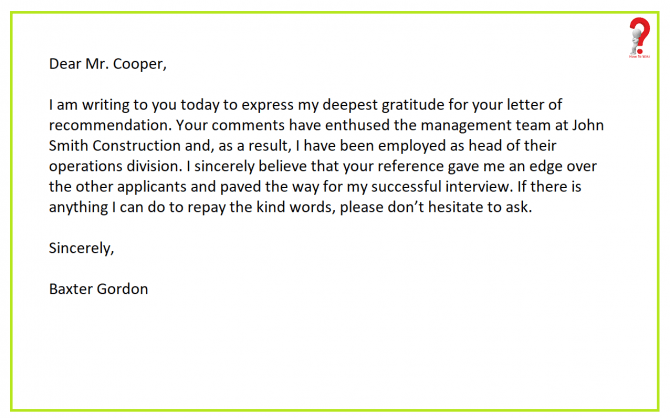 How To Write Thank You Letter For Recommendation
