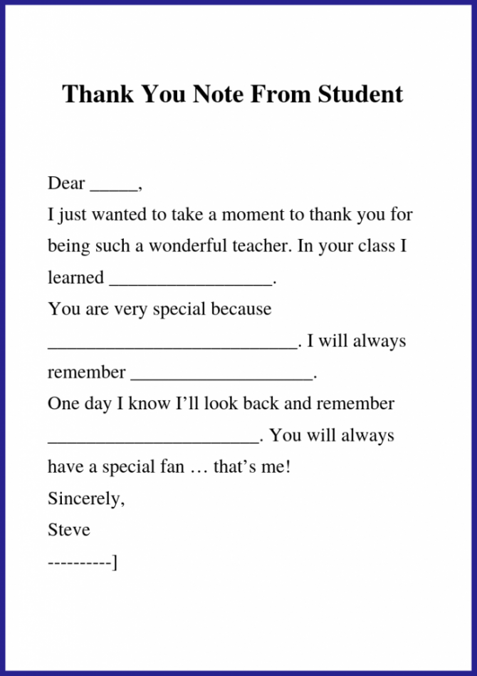 How To Write Thank You Letter To Teacher   Principal