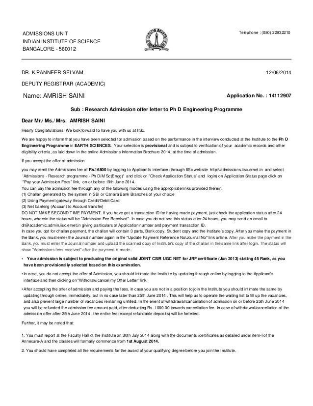 Iisc Offer Letter
