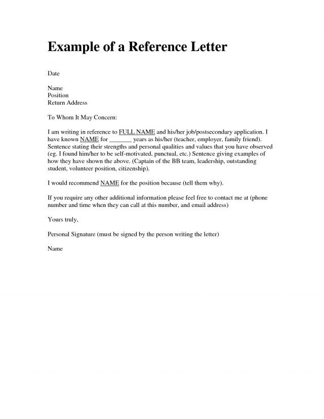 Image Result For Character Reference Letter Template