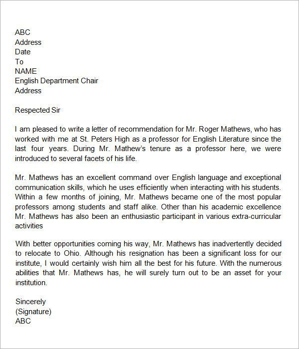 Image Result For Recommendation Letter For Colleague