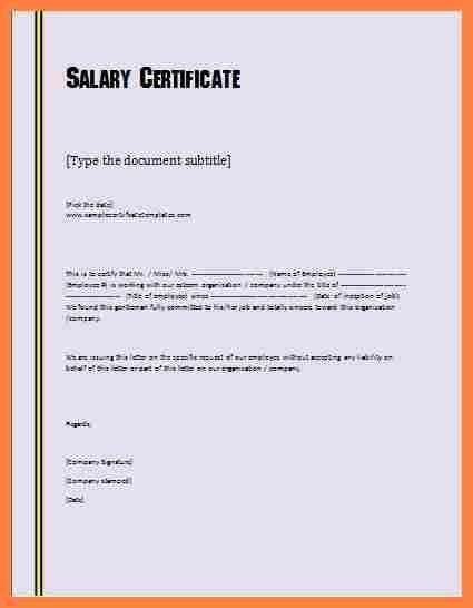 Image Result For Salary Certificate Sample Letter Pdf