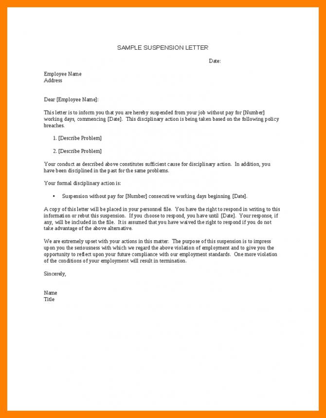 Image Result For Suspension Letter For Employee