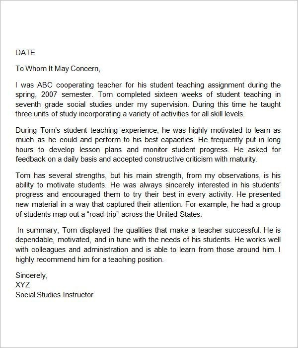 Image Result For Teacher Recommendation Letter Template
