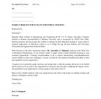 Industrial Training Proposal Letter
