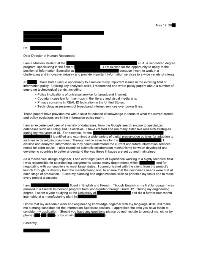 Information Specialist Cover Letter