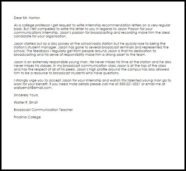 Internship Recommendation Letter Example