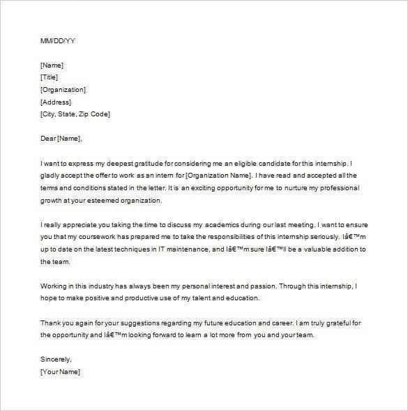 Internship Thank You Letter Templates