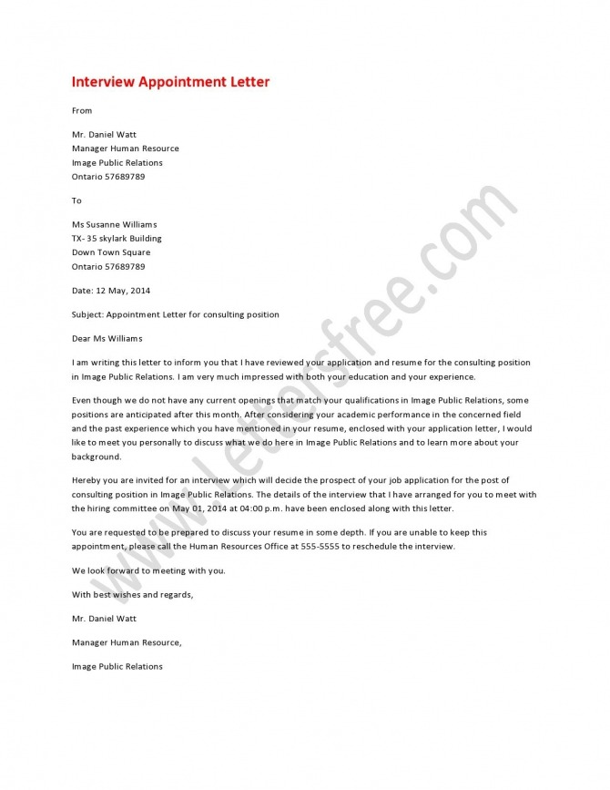 Interview Appointment Letter