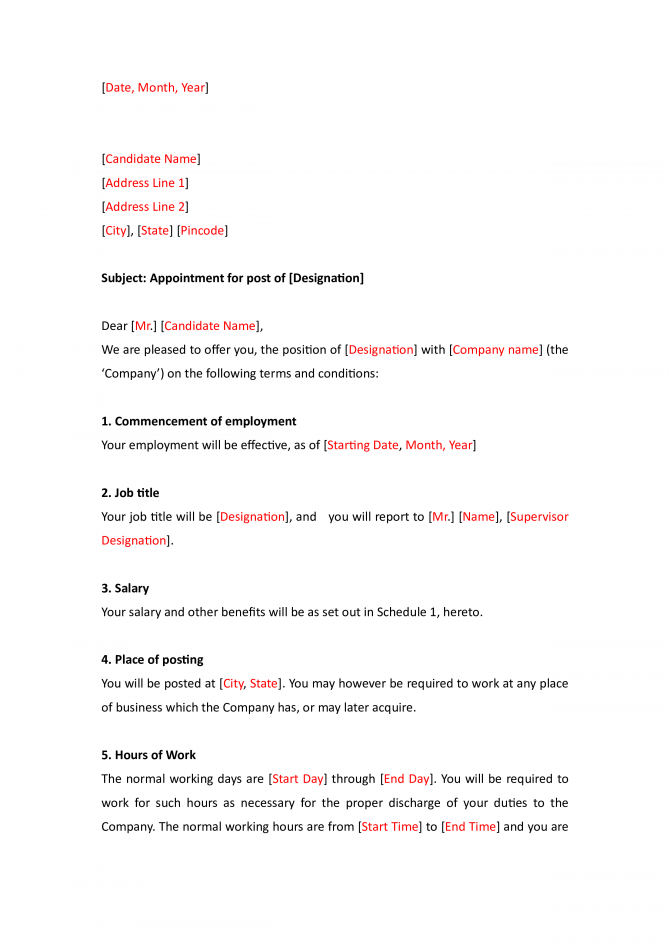 Interview Appointment Letter Format